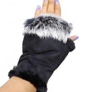 🎁 $10 Gift 🎁 Furry Cozy Suede Fingerless GLOVES